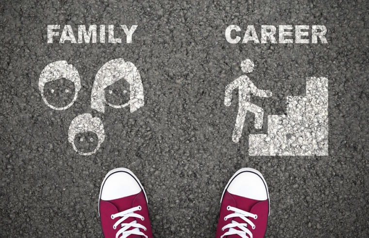 Choice Between Family And Career. One Choosing Between Parent Re