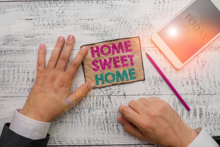 Text Sign Showing Home Sweet Home. Conceptual Photo In House Fin