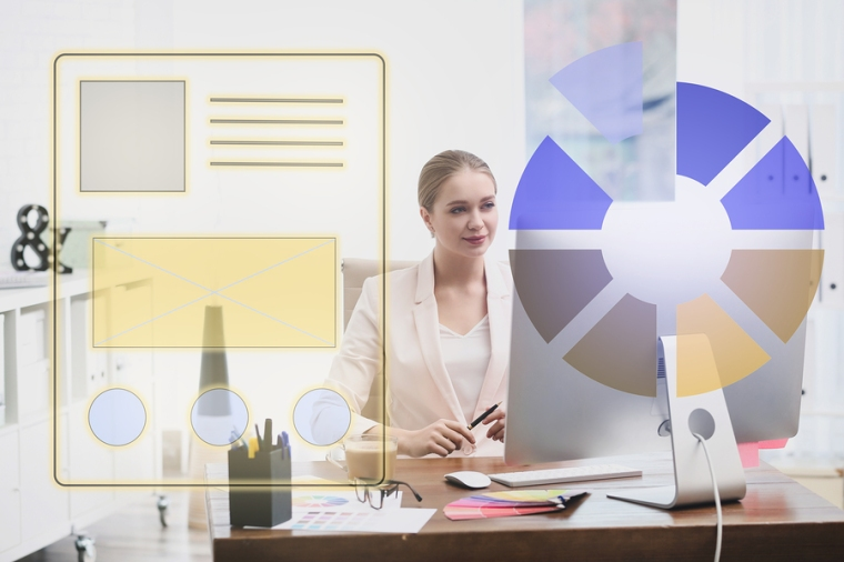 Female Designer Working At Desk In Office And Illustration Of Co