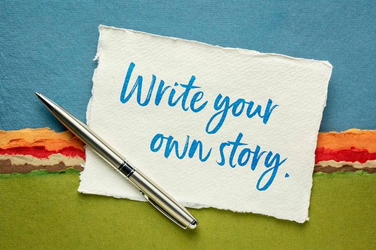write your own story inspirational note - handwriting on a handm
