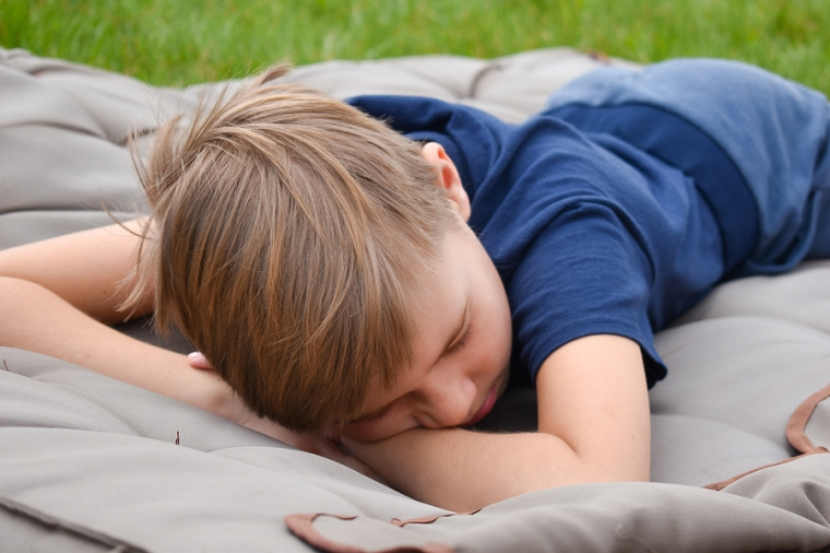 Boy Sleeping On A Blanket Outdoor. Child Resting In The Garden O